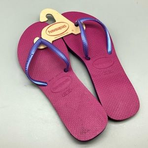 New! Havaianas pink and purple flip flops